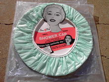 DORA MAY VINYL TERRY CLOTH SHOWER CAP ORIGINAL NEW YORK ADVERTISING CARD