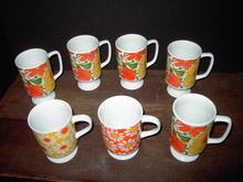 RETRO FLOWER MUG COFFEE CUP FOOTED CERAMIC FLOWERED TABLEWARE