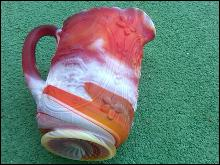 END OF THE DAY GLASS WATER PITCHER TANKARD DUTCH WINDMILL ORANGE RED WHITE SWIRL PATTERN IMPERIAL RETRO MANUFACTURER