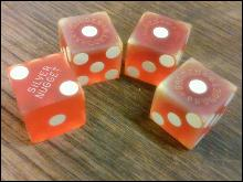 SILVER GOLDEN NUGGET DICE LAS VEGAS NEVADA CASINO GAMBLING HALL SOUVENIR GAMING PIECE