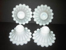CANDLEHOLDER WHITE MILK GLASS PEARL TEARDROP
