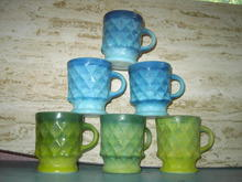 FIREKING MUG CUP KIMBERLY BLUE GREEN RETRO ERA GLASS