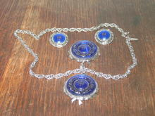 WHITING DAVIS COBALT BROOCH NECKLACE EARRINGS