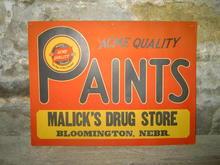 ACME PAINT SIGN MALICKS DRUG STORE BLOOMINGTON NEBRASKA
