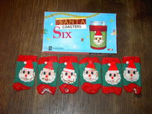 SANTA CHRISTMAS COASTER DRINK SLEEVE ORIGINAL BOX HELEN GALLAGHER FOSTER HOUSE DAN DEE IMPORTS NEW YORK CITY