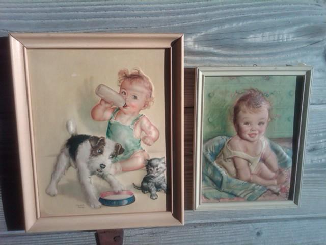 INFANT BABY ROOM PICTURE FRAMED PRINT TWO DIMENSIONAL STYLE RAISED SUBJECT BECKER SIGNED