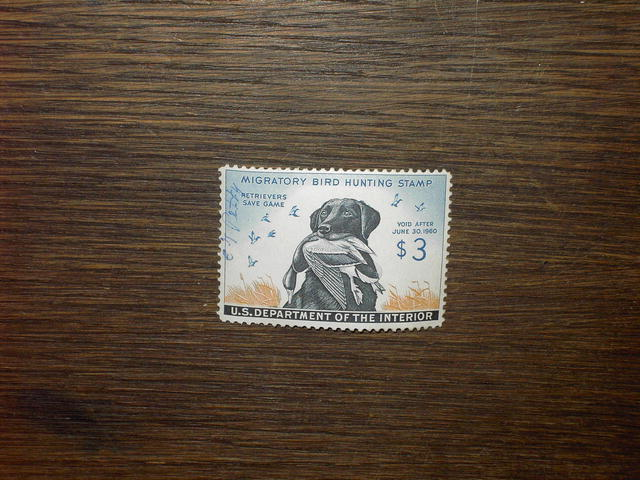 MIGRATORY BIRD DUCK HUNTING STAMP BLACK LABORADOR RETRIEVER 1959