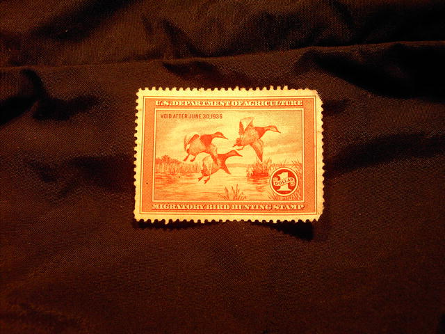 MIGRATORY BIRD DUCK HUNTING STAMP CANVASBACK 1935 1936