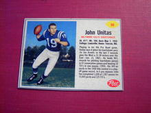 JOHN UNITAS POST CEREAL FOOTBALL CARD BALTIMORE COLTS QUARTERBACK