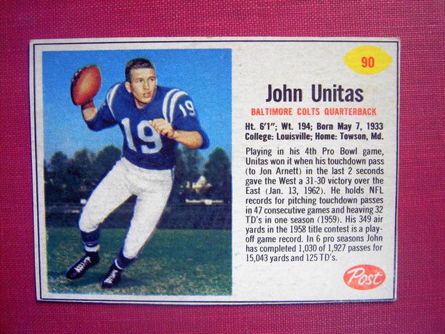 JOHN UNITAS POST CEREAL FOOTBALL CARD BALTIMORE COLTS QUARTERBACK