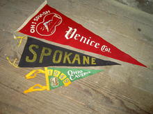 SCHOOL PENNANT TOURIST BANNER VENICE CALIFORNIA OHIO CAVERNS CRYSTAL KING STALACTITE SPOKANE WASHINGTON