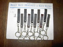 LEATHER BELT KEY RING HOLDER ORIGINAL ADVERTISING CARD TRUCKER STYLE