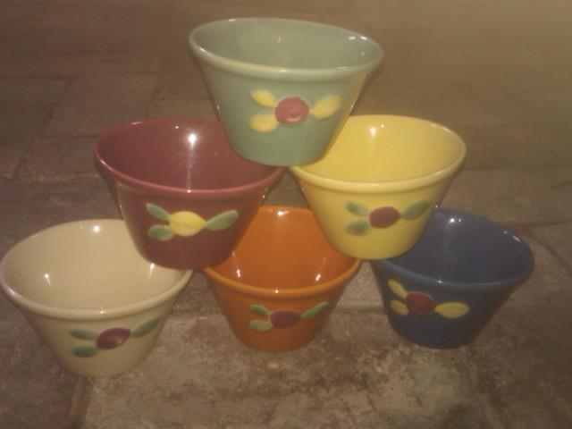 COORS POTTERY ROSEBUD CUSTARD CUP COLORFUL GLAZE DESSERT BOWL SET