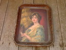 CHRYSANTHEMUM GIRL LADY PORTRAIT SERVING TRAY AMERICAN ART WORKS COSMOCTON OHIO W H MCENTEE  1910