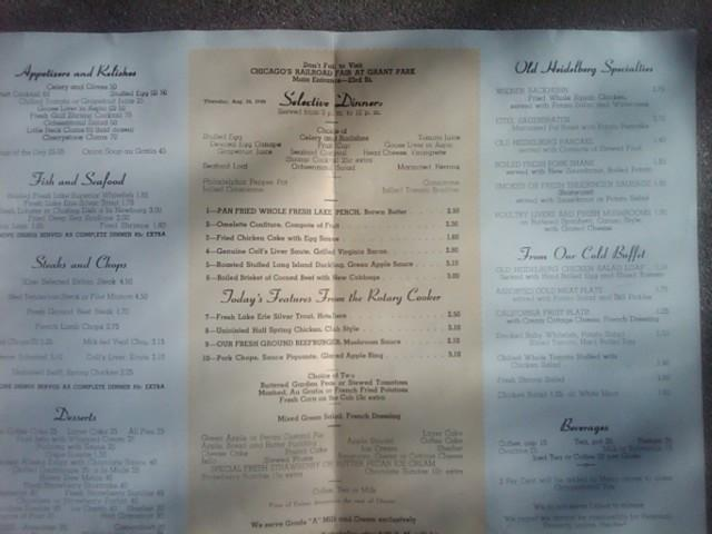 OLD HEIDELBERG FOOD BEVERAGE MENU CHICAGO ILLINOIS RESTAURANT SOUVENIR PUBLICATION
