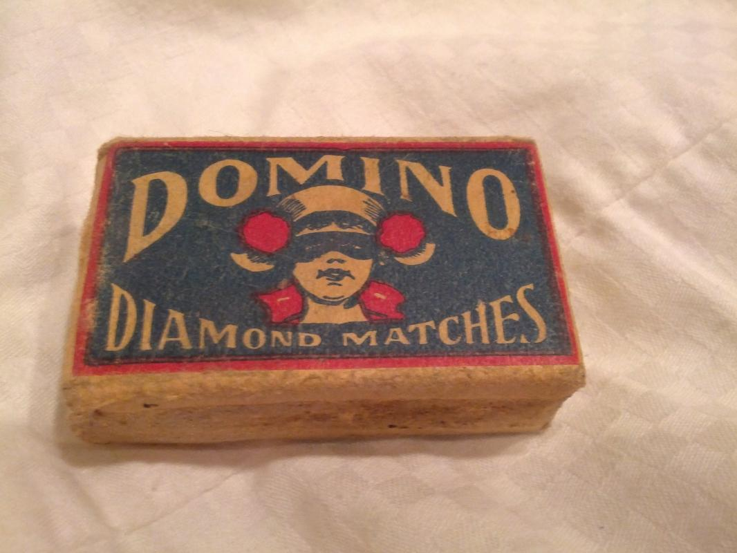 Domino Diamond Matches Cardboard Match Box American Made Depression Era Household Good