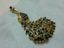 Eisenberg Peacock Bird Lapel Pin Colorful Rhinestone Gold Tone Black Enamel  Brooch Fashion Costume Jewelry