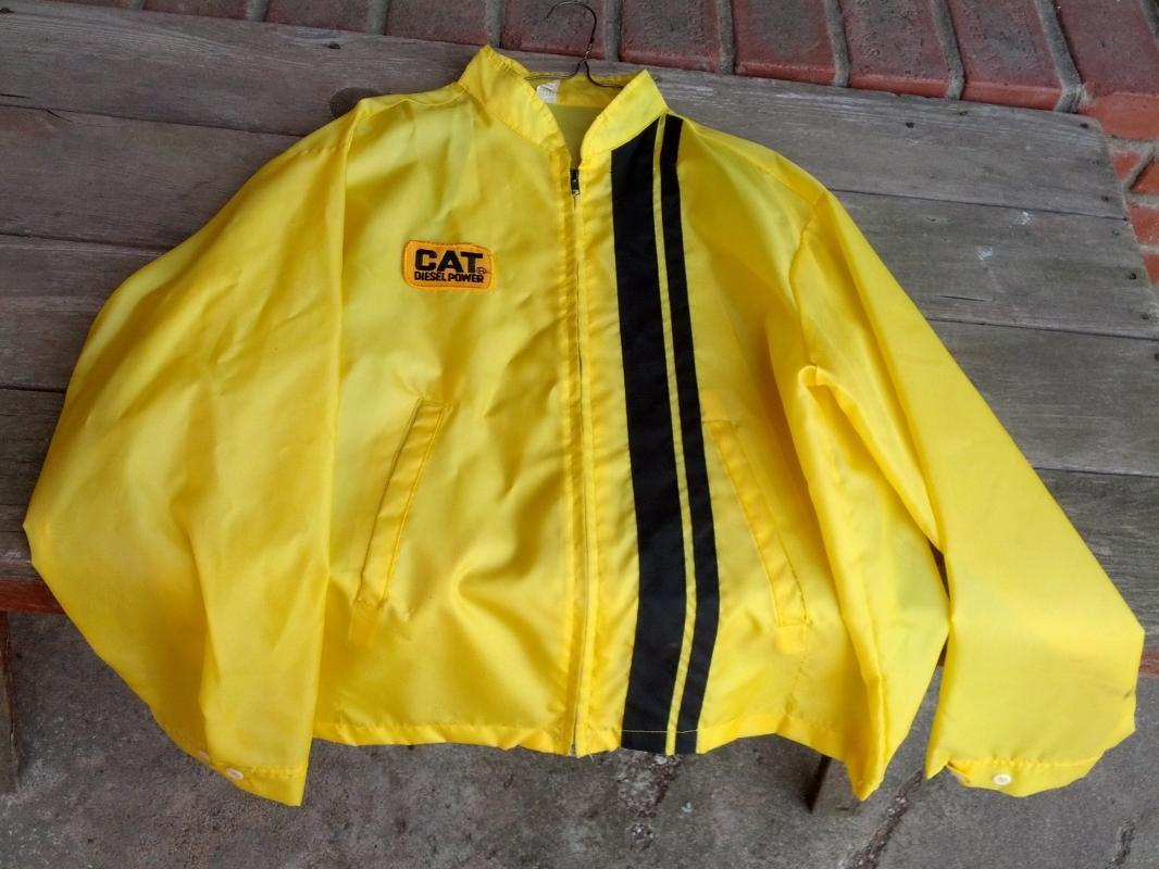 cat diesel power yellow black stripe jacket retro era windbreaker coat louisville sportswear manufacturing kentucky usa garment cloth label