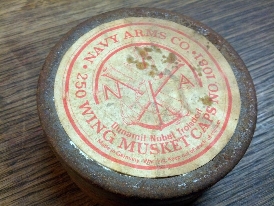 navy arms wing musket cap tin can dynamit nobel troisdorf germany german made cannister