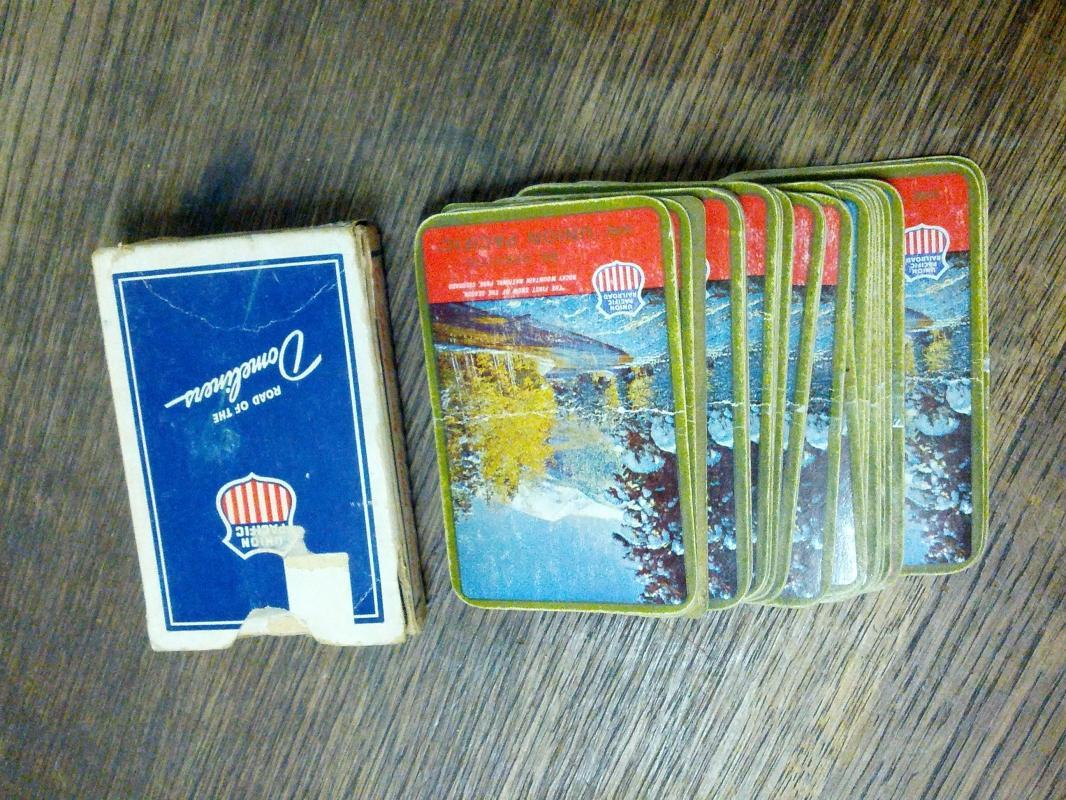 union pacific domeliner passenger train mountain scenery playing cards locomotive travel collectible