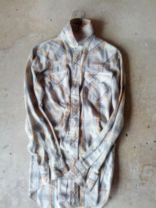 lee cowboy western wear long sleeve shirt gray orange yellow plaid pearl snap buttons american made garment