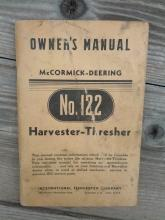 mccormick deering international harvester company chicago illinois owners manual number 122 thresher book parts list booklet farm ranch pamphlet