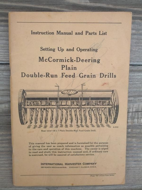 mccormick deering international harvester chicago illinois plain double run feed grain drill instruction manual parts list booklet farm ranch machinery pamphlet