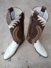 white leather cowboy boots western wear foot apparel usa made olathe kansas footwear size 9 b
