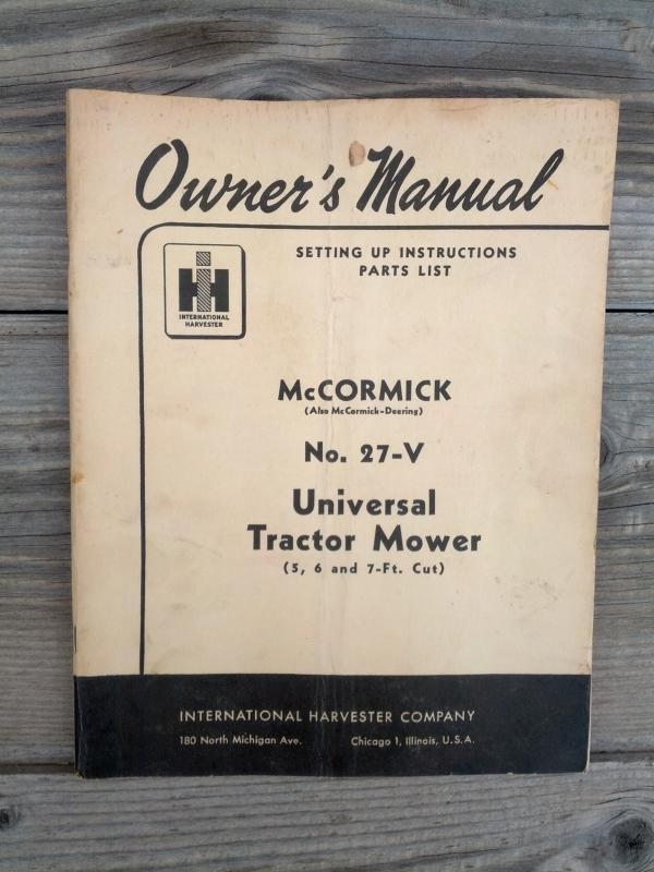 mccormick deering universal tractor mower number 27 v instruction booklet parts list guide international harvester farm ranch publication