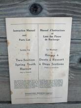 international harvester company two section spring tooth harrow instruction manual parts list booklet farm ranch machinery publication