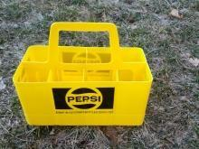pepsi cola soft drink soda pop bottle carrier case retro yellow plastic beverage tote