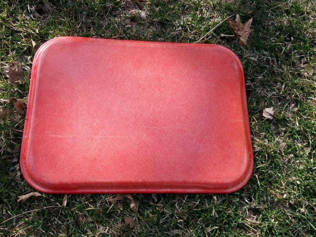 orange fiberglass lunchroom tray food beverage serving utensil retro era kitchen tool american retro era party platter