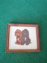 pup little puppy dog framed picture print wall decoration childs room ornament