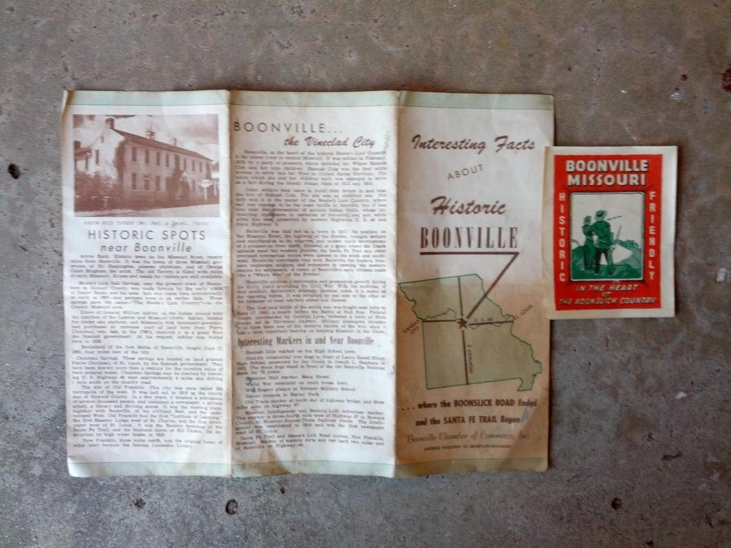 historic boonville missouri tourism tourist pamphlet historical region paper print 1950's era show me state travel brochure flyer