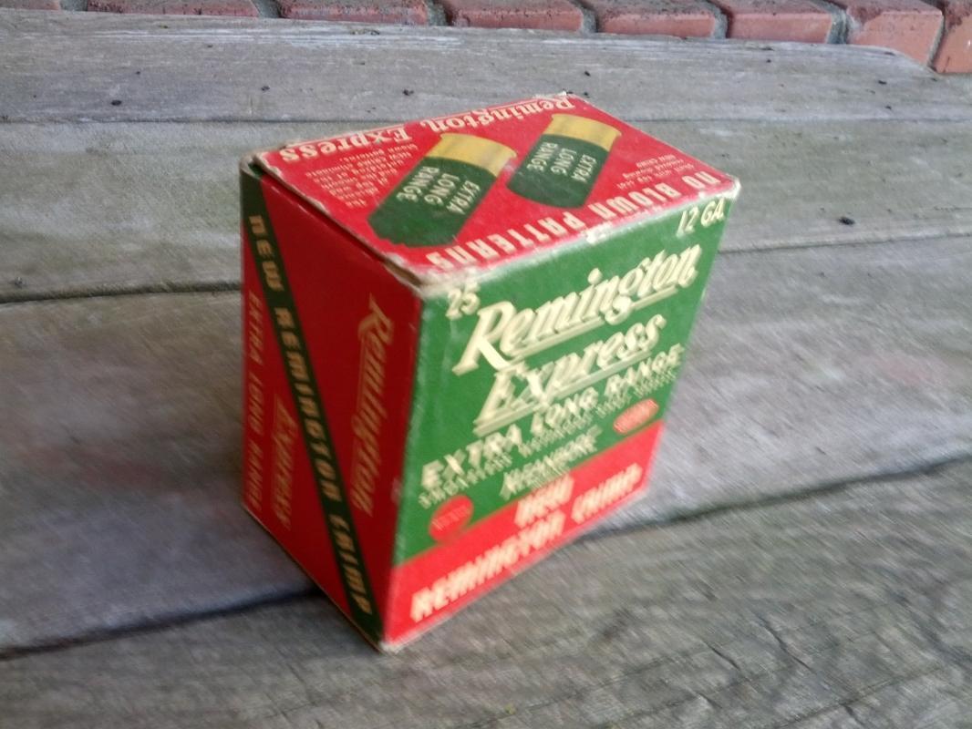 remington express extra long range shotgun shell box hunting sport collectible cardboard advertising