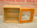DOCTOR BARBER UTENSIL TOOL STERILIZER CABINET GLASS DOOR SHELVES BLONDE FRUITWOOD