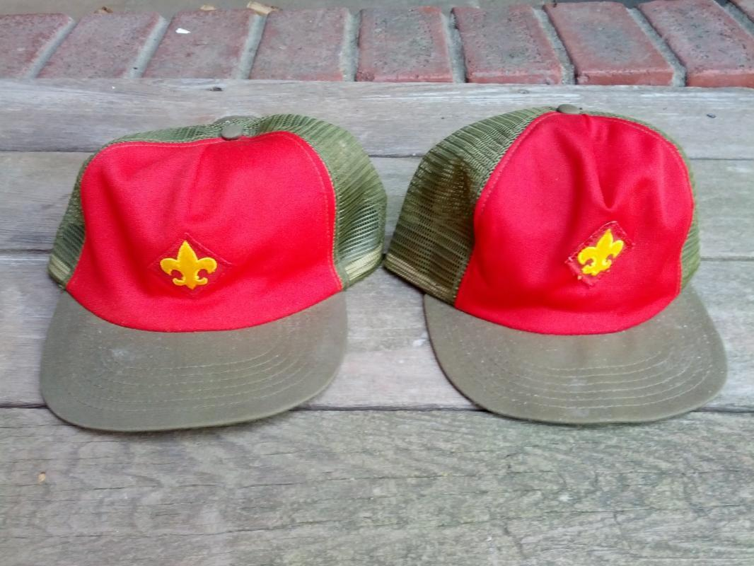 BOY SCOUT BALL CAP RED GREEN TROOP HAT RETRO ERA SCOUTING ACCESSORY CLOTHING UNIFORM APPAREL