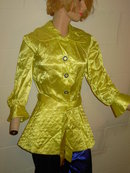 OSGOOD MADEMOISELLE SATIN NIGHT DRESS NIGHTGOWN LOUNGING PAJAMA ELECTRIC YELLOW & BLUE QUILTED
