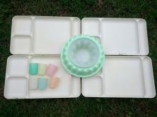 tupperware food serving tray jello gelatin mold child size pastel tumbler cup retro plastic kitchen ware table utensil