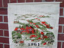 1961 STEVENS CALENDAR TOWEL KANSAS CENTENNIAL STICKER COVERED BRIDGE COUNTY TOWN SCENE