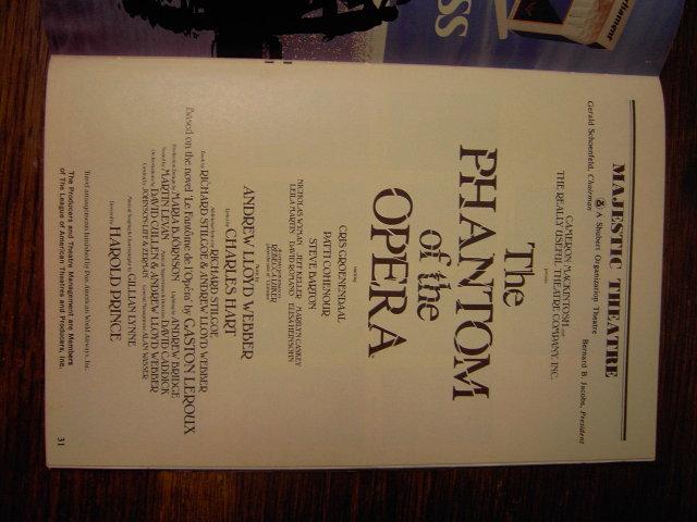 NEW YORK MAJESTIC THEATRE PHANTOM OF THE OPERA PLAYBILL