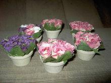 MINIATURE ROSE FLOWER POTS DECORATIVE PATIO SUNROOM FAUX PLANTS