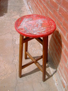 OAK WOOD PLANT STAND RED PAINTED KITCHEN STOOL OLMSTEAD LITTLE ROCK ARKANSAS