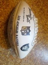 LOS ANGELES RAIDERS STAMPED AUTOGRAPH FOOTBALL NFL COLLECTIBLE BALL