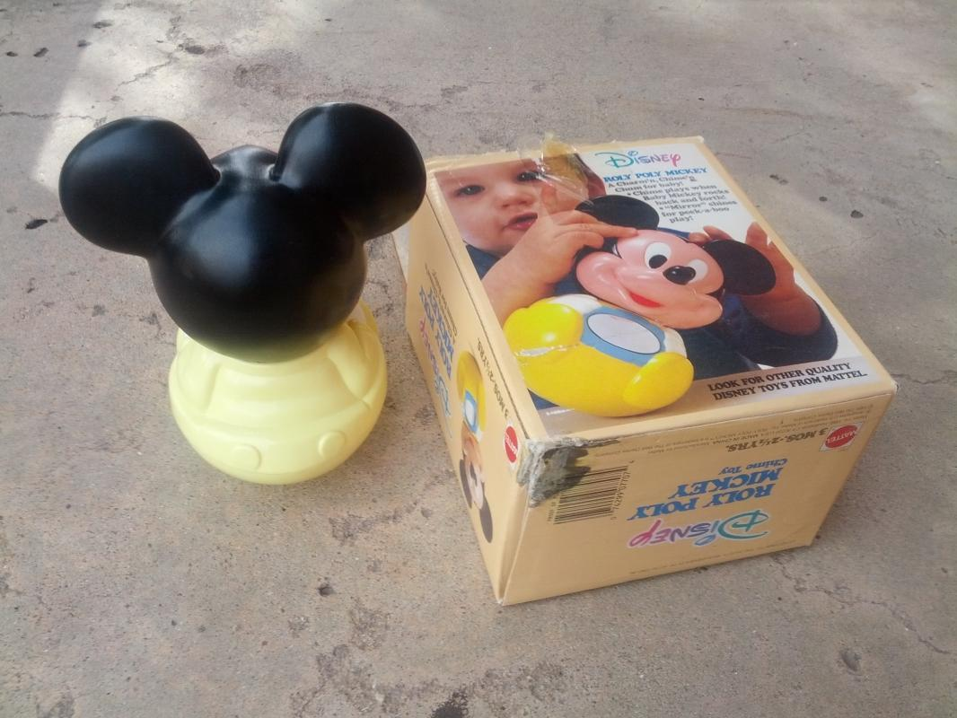 walt disney roly poly mickey mouse chime toy mattel original box