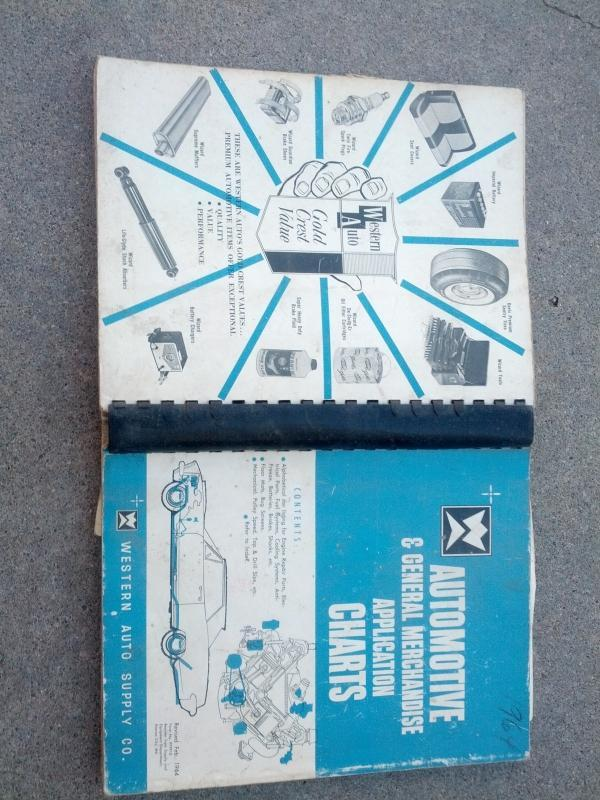 westrrn auto supply automotive catalog general merchandise application chart book 1964 car part booklet