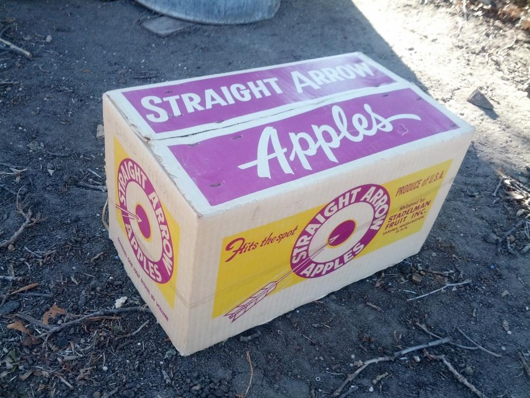 straight arrow hits the spot cardboard fruit produce box stadelman yakima washington purple yellow advertising crate 1960's grocery supply collectible