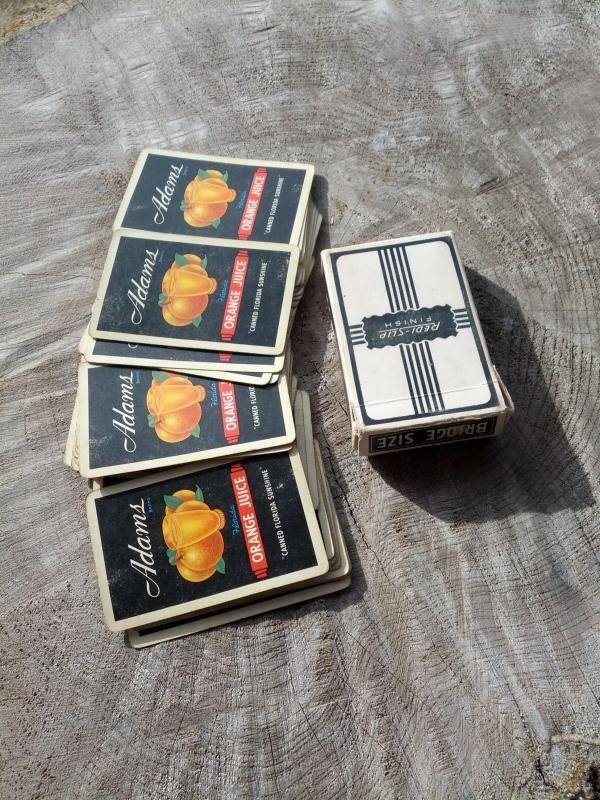 adams brand canned florida sunshine orange juice beverage advertising playing cards bridge size redi slip finish style