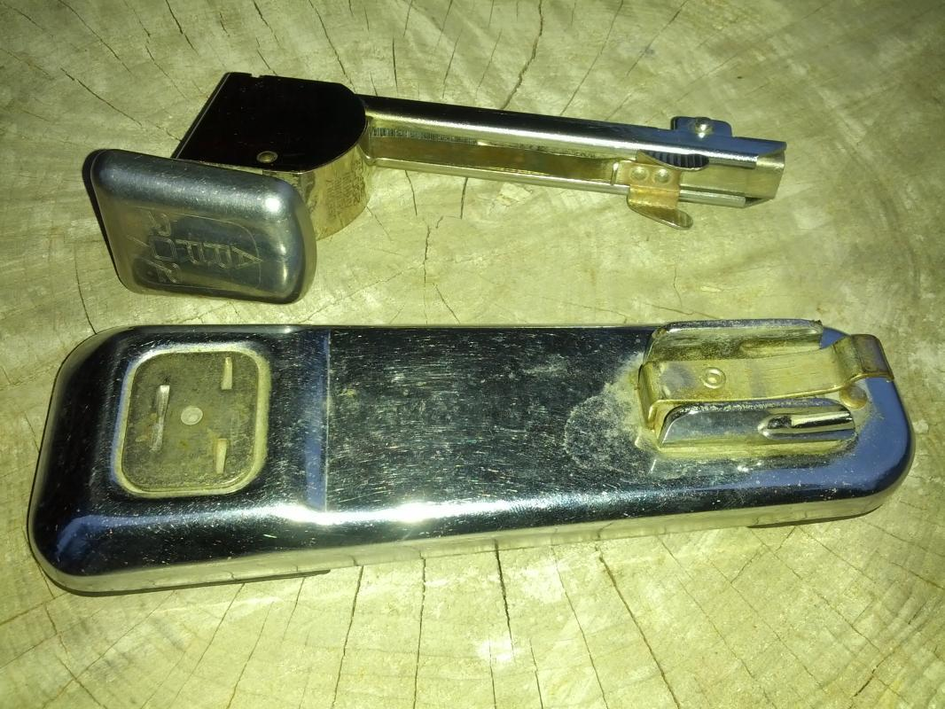 chrome plated steel stapler office desk tool staple dispenser arrow fastener company brooklyn new york desktop gadget