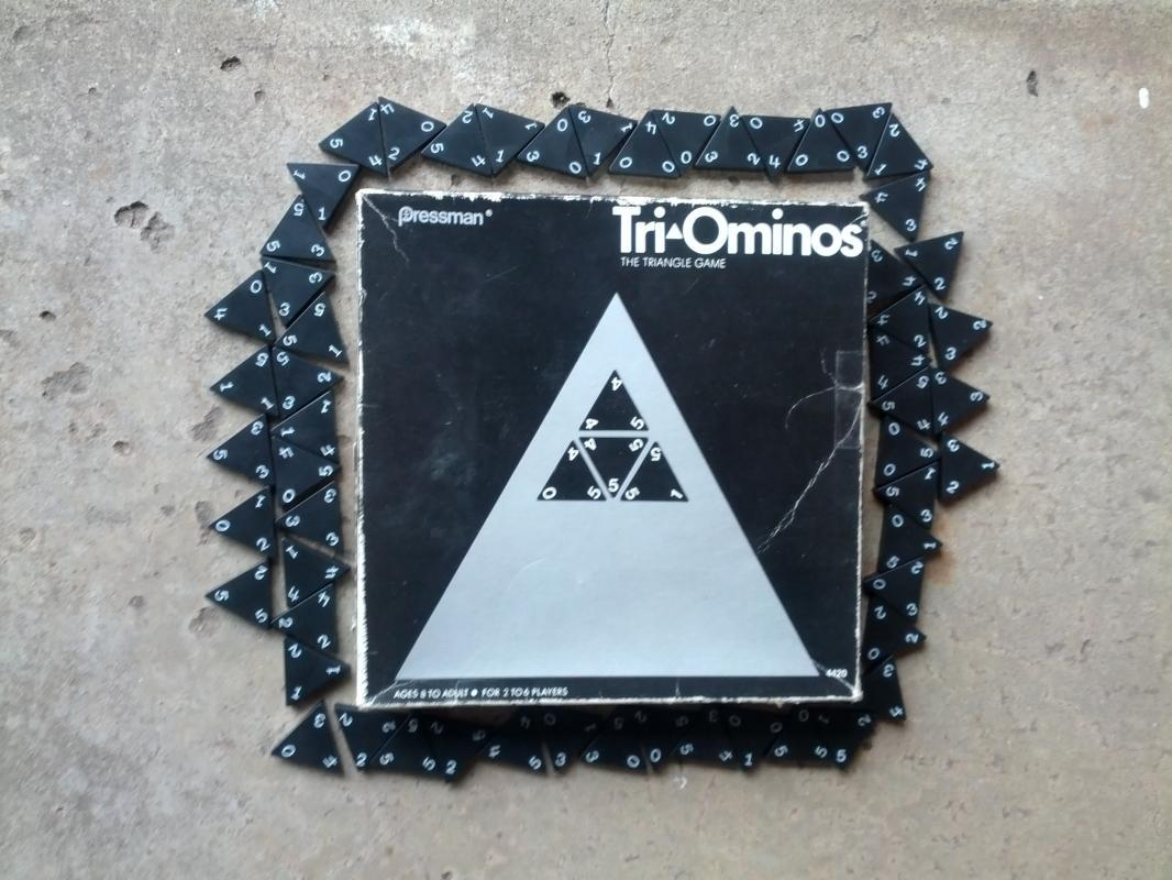 tri ominos triangle domino style game family pastime retro era party activity 1968 pressman new york collectible